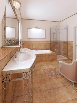 Badkamer in klassieke stijl met modern sanitair en meubels met een bloempot. 3d-weergave.
