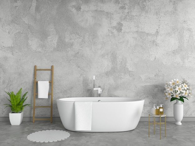 Badkamer interieur badkuip, loft-stijl