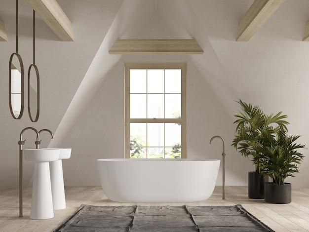 Badkamer interieur op zolder 3d rendering