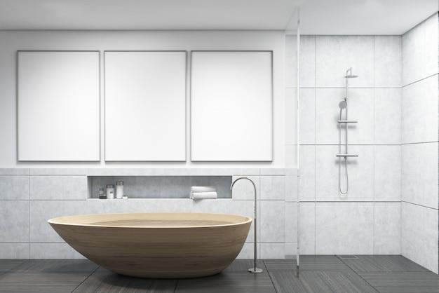 Badkamer met houten badkuip