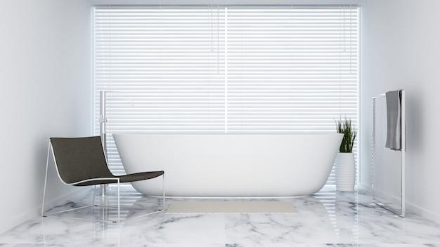 Badkamer witte toon in hotel of appartement - 3d-rendering
