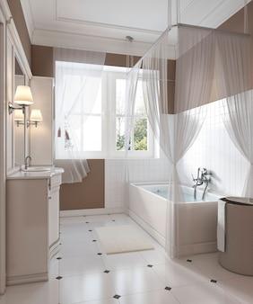 Badkamerdecoratie in klassieke stijl, ijdelheid, bad. 3d-weergave.