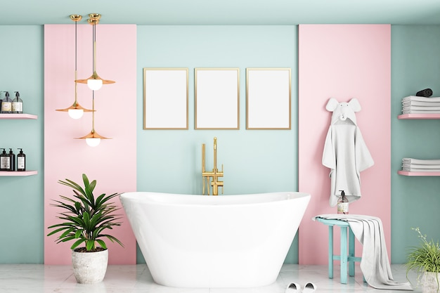 Badkamerframe mockup in kinderkamer roze