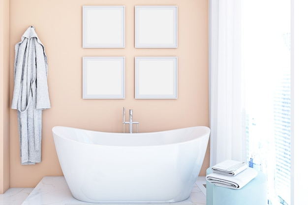 Badkamerframemodel in roze kleur