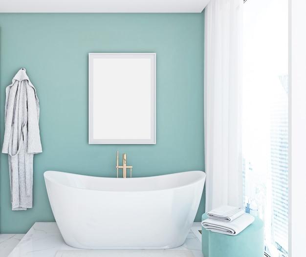 Badkamermodel in blauwe kleur framemodel wit