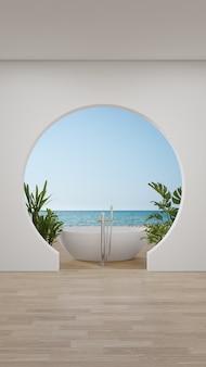 Badkuip op houten vloerterras van lege grote woonkamer in modern nieuw huis of luxehotel