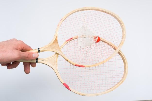 Badmintonrackets in de hand