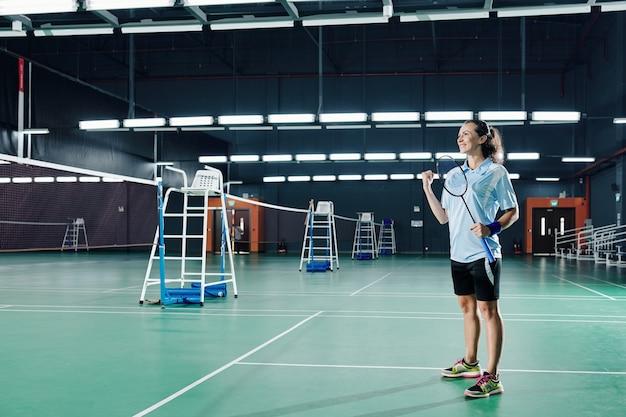 Badmintonspeler overwinning vieren