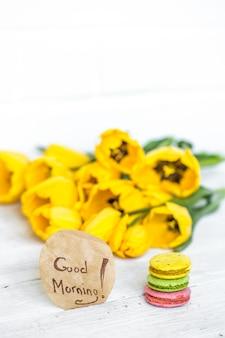 Badstof gele tulpen
