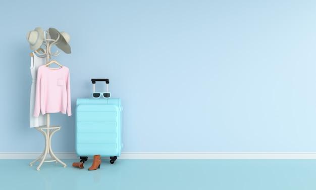 Bagage in blauwe ruimte