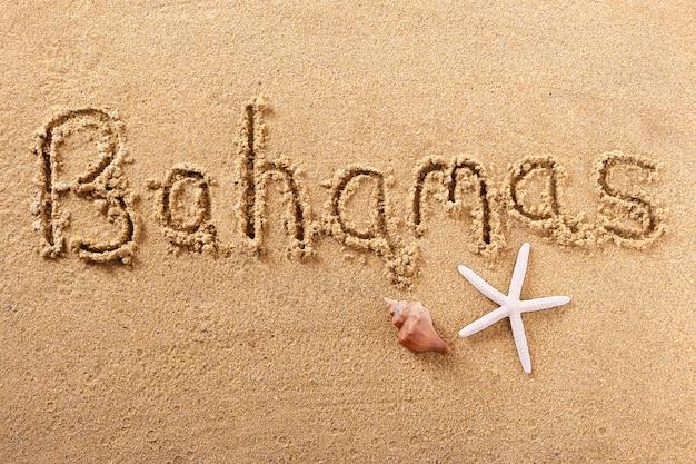 Bahama's handgeschreven strand zand bericht