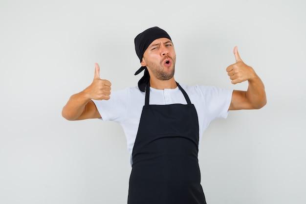 Baker man dubbele duimen opdagen in t-shirt