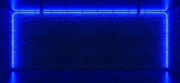 Bakstenen muur, achtergrond, blauw neonlicht