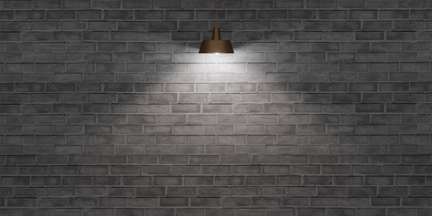 Bakstenen muur en lantaarn licht op het oppervlak van een lege cementmuur oude vloer 3d illustratie