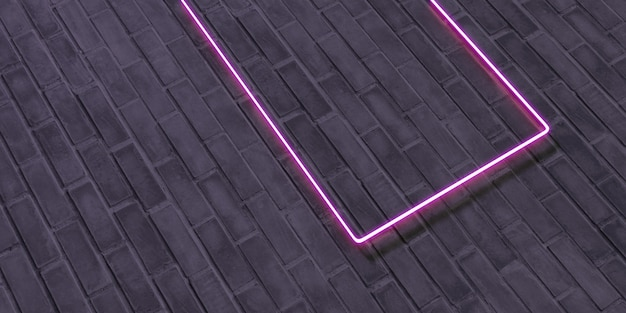 Bakstenen muur en neonreclameframe neonreclames op gipswanden tekstframe op oude achtergrond 3d