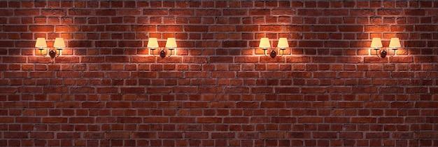 Bakstenen muur met elegante lampen.