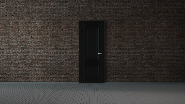 Bakstenen muur, zwarte deur en houten vloer, abstracte lege interieur achtergrond. 3d-afbeelding.
