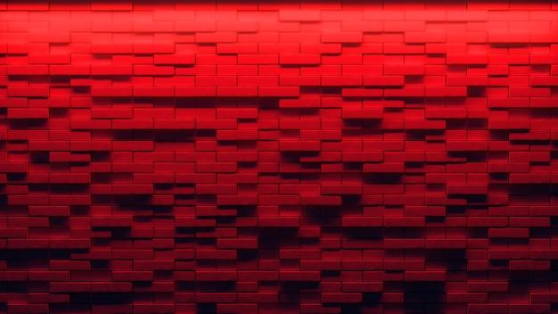 Bakstenen muurachtergrond, neonlicht. 3d illustratie
