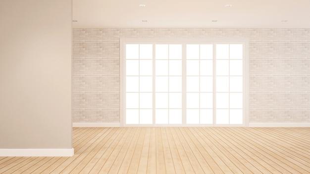 Bakstenen muurdecoratie in lege ruimte voor flat of hotelkunstwerk