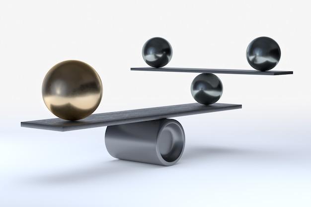 Balanceren van het perfecte systeem. 3d-rendering