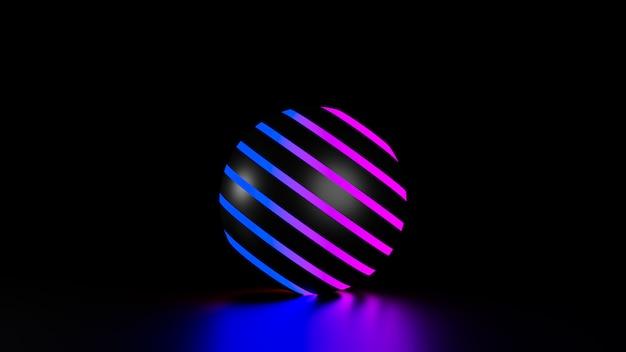 Ballen op neonlicht, 3d render