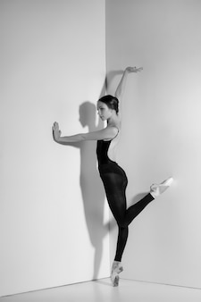 Ballerina in zwarte outfit poseren op pointe-schoenen