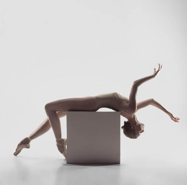 Ballerina. jonge sierlijke vrouwelijke balletdanser dansen. schoonheid van klassiek ballet.