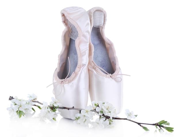 Ballet pointe schoenen met bloeiende tak geïsoleerd op wit Premium Foto