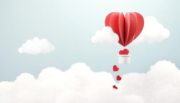 Ballon die met hart vliegt.