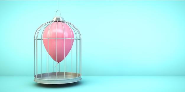 Ballon op een kooi concept 3d-rendering