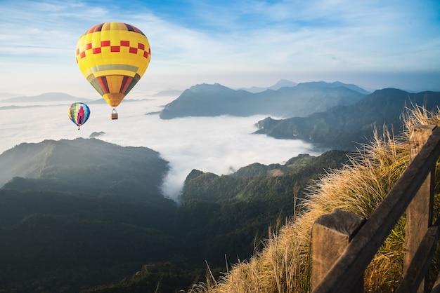 Ballon over mist en wolkenbergvallei