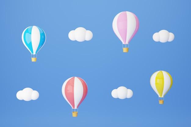 Ballon vliegt op blauwe hemel. reizen concept. 3d rendering illustratie.