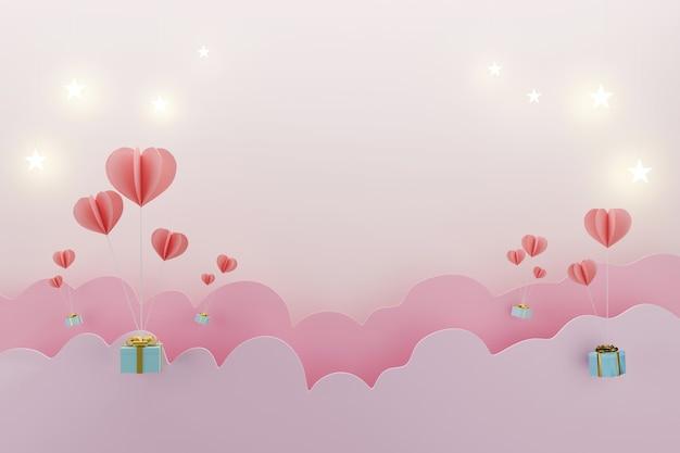 Ballonhart met giftdoos voor het concept van liefdevalentijnskaarten, kopieer ruimte voor tekstadvertentie, 3d illustratie