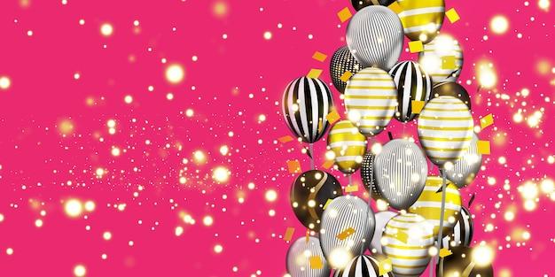 Ballonnen en bokeh achtergrondafbeeldingen multi gekleurd lint speciale dag achtergrond 3d illustratie Premium Foto
