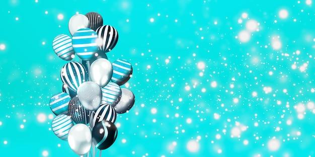 Ballonnen en bokeh achtergrondafbeeldingen multi gekleurd lint speciale dag achtergrond 3d illustratie