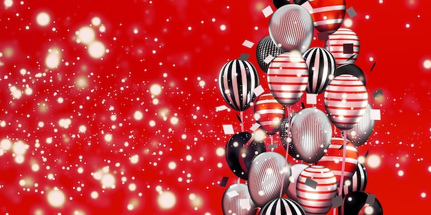 Ballonnen en bokeh achtergrondafbeeldingen multi gekleurd lint speciale dag achtergrond 3d