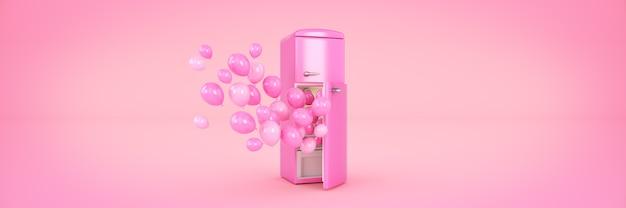 Ballonnen en koelkast met vriezer 3d-rendering