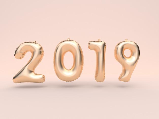 Ballontekst 2019, nummer goud drijvende 3d-rendering roze achtergrond