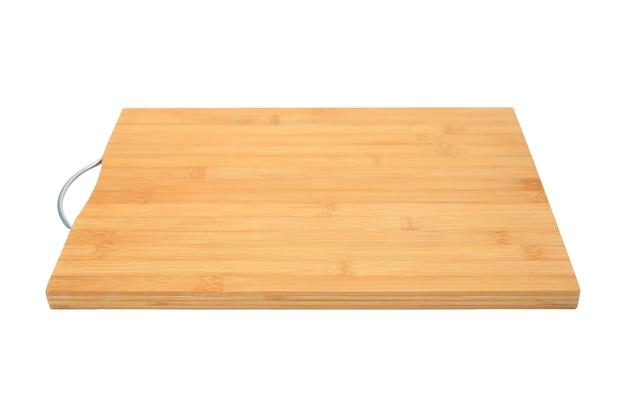 Bamboe fineer snijplank met handvat, geïsoleerd op een witte achtergrond, perspectief weergave