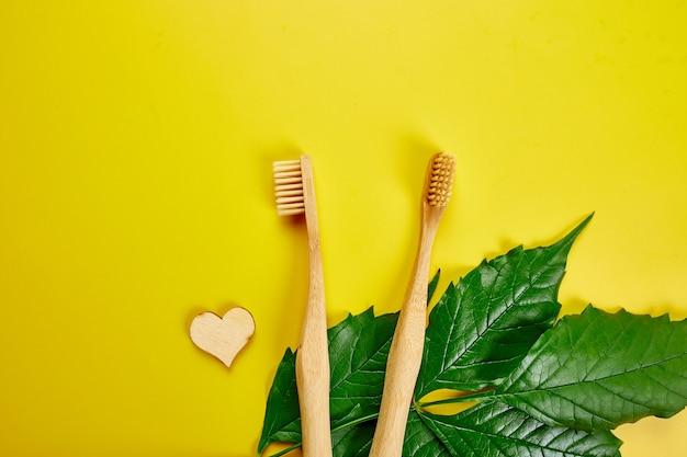 Bamboe tandenborstels en groene bladeren, eco-vriendelijke, zero waste producten voor persoonlijke hygiëne, tandheelkundige zorg concept