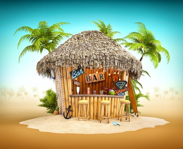 Bamboe tropische bar op een hoop zand