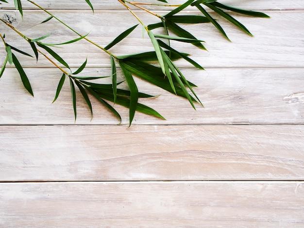 Bamboebladeren op witte houten