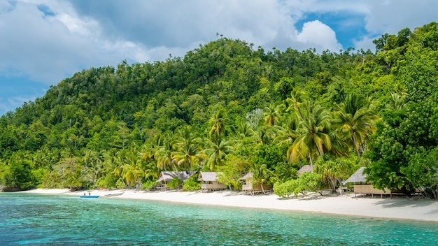 Bamboo huts on the beach, coral reef of an homestay gam island, west papuan, raja ampat, indonesië