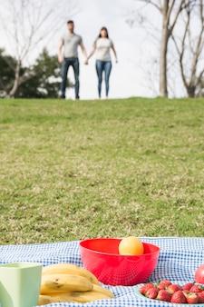Banaan; aardbeien en oranje vruchten op deken op groen gras