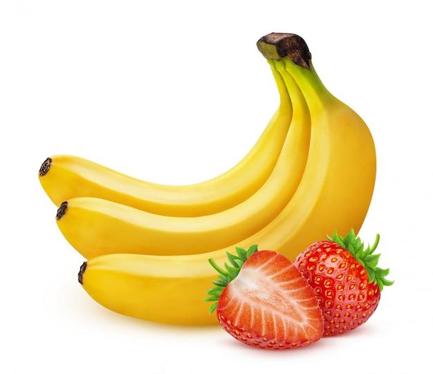 Banaan en aardbei op witte achtergrond wordt geïsoleerd die