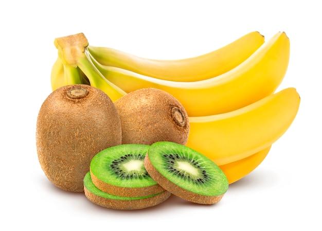 Banaan en kiwi geïsoleerd