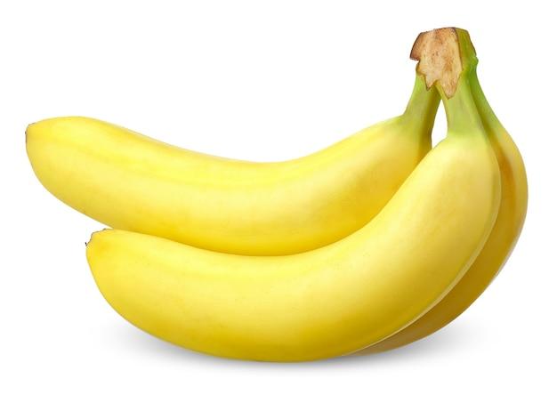 Banaan geïsoleerd op een witte achtergrond. banaan uitknippad