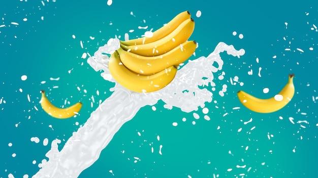 Banaan milkshake splash op blauwe achtergrond