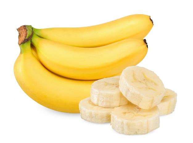 Banaan op wit wordt geïsoleerd dat