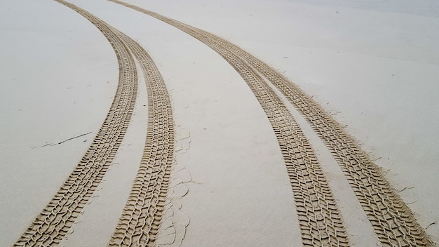 Bandensporen op het zand